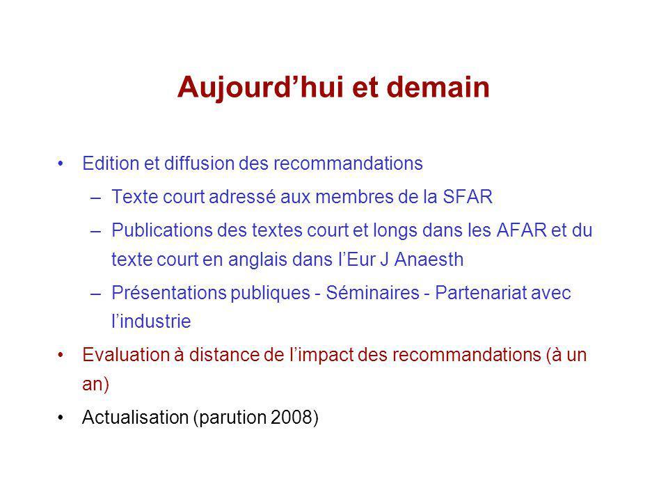 Aujourdhui et demain Edition et diffusion des recommandations –Texte court adressé aux membres de la SFAR –Publications des textes court et longs dans