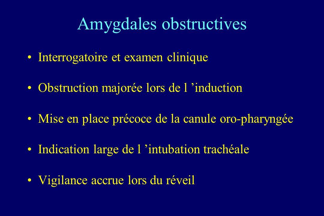 Amygdales obstructives Interrogatoire et examen clinique Obstruction majorée lors de l induction Mise en place précoce de la canule oro-pharyngée Indi