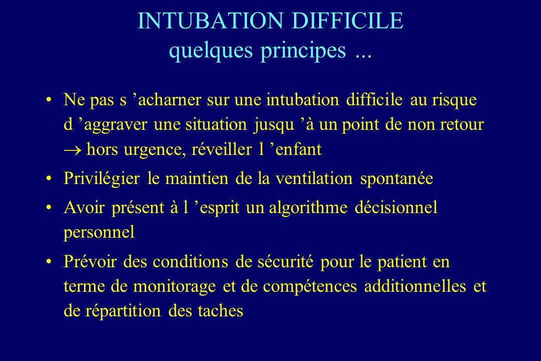 INTUBATION DIFFICILE quelques principes... Ne pas s acharner sur une intubation difficile au risque d aggraver une situation jusqu à un point de non r