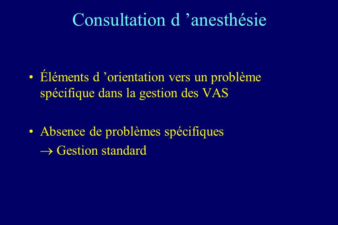 Consultation d anesthésie Éléments d orientation vers un problème spécifique dans la gestion des VAS Absence de problèmes spécifiques Gestion standard