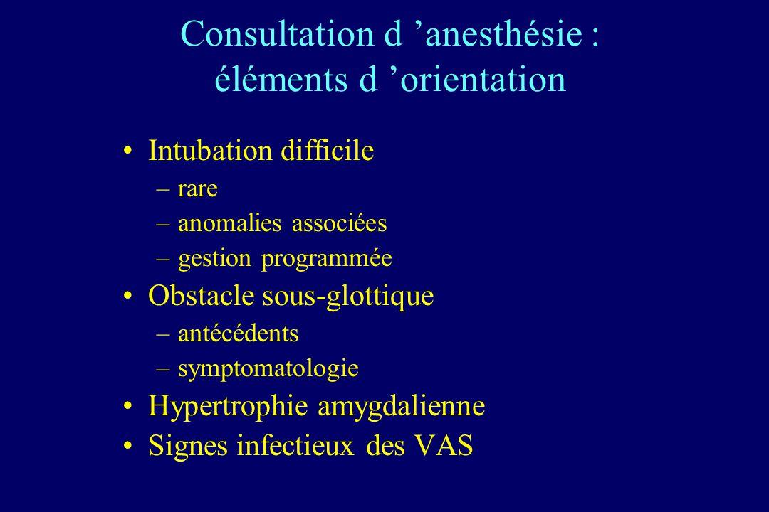 Consultation d anesthésie : éléments d orientation Intubation difficile –rare –anomalies associées –gestion programmée Obstacle sous-glottique –antécé