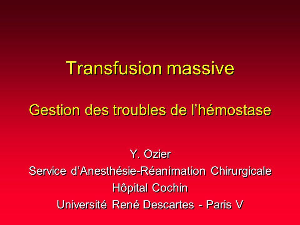 Définitions Signification pronostique Déterminants de la coagulopathie Comment diagnostiquer le(s) mécanisme(s) .