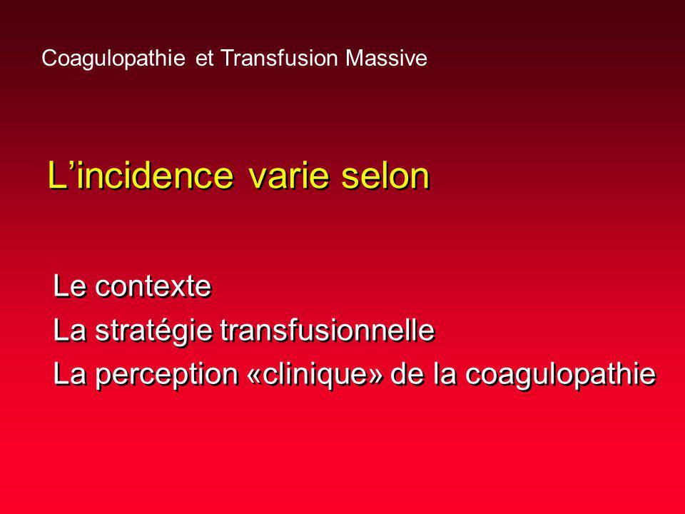 Transfusion massive Définitions conventionnelles –1 masse sanguine < 24 heures –10 Unités CGR < 24 heures Autres définitions proposées –0,5 masse sanguine < 3heures .