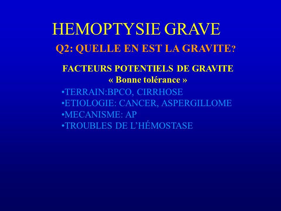 FACTEURS POTENTIELS DE GRAVITE « Bonne tolérance » HEMOPTYSIE GRAVE TERRAIN:BPCO, CIRRHOSE ETIOLOGIE: CANCER, ASPERGILLOME MECANISME: AP TROUBLES DE LHÉMOSTASE Q2: QUELLE EN EST LA GRAVITE ?