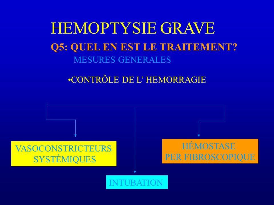 HEMOPTYSIE GRAVE Q5: QUEL EN EST LE TRAITEMENT.
