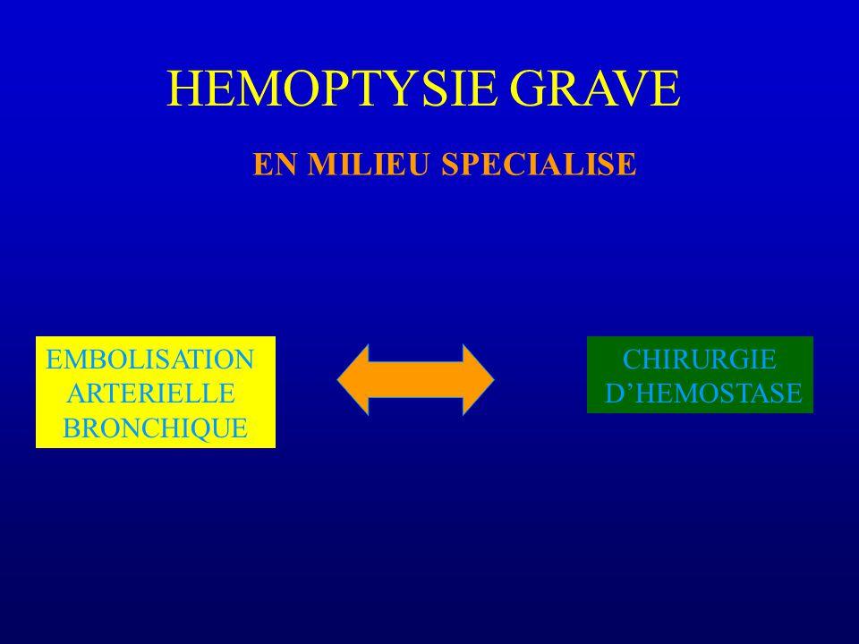 HEMOPTYSIE GRAVE EN MILIEU SPECIALISE EMBOLISATION ARTERIELLE BRONCHIQUE CHIRURGIE DHEMOSTASE
