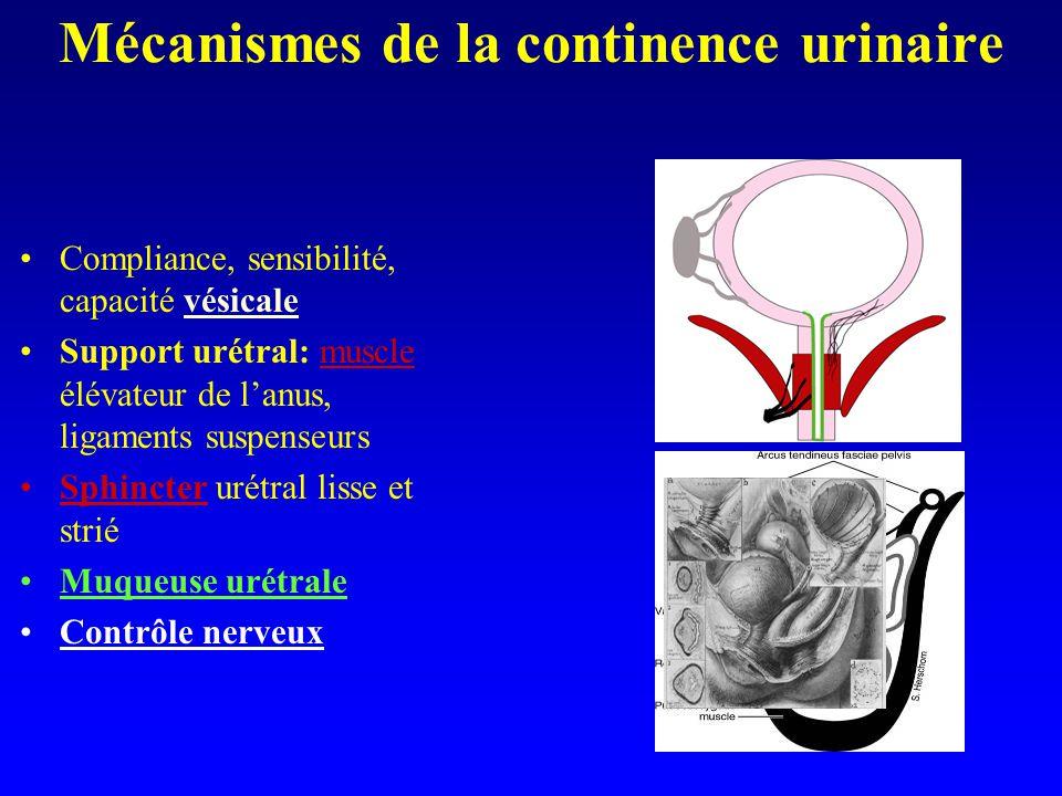 Mécanismes de la continence urinaire Compliance, sensibilité, capacité vésicale Support urétral: muscle élévateur de lanus, ligaments suspenseurs Sphi