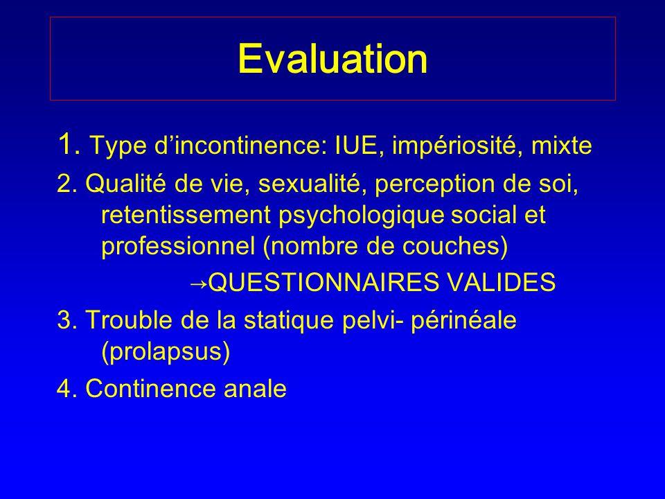 Evaluation 1. Type dincontinence: IUE, impériosité, mixte 2. Qualité de vie, sexualité, perception de soi, retentissement psychologique social et prof
