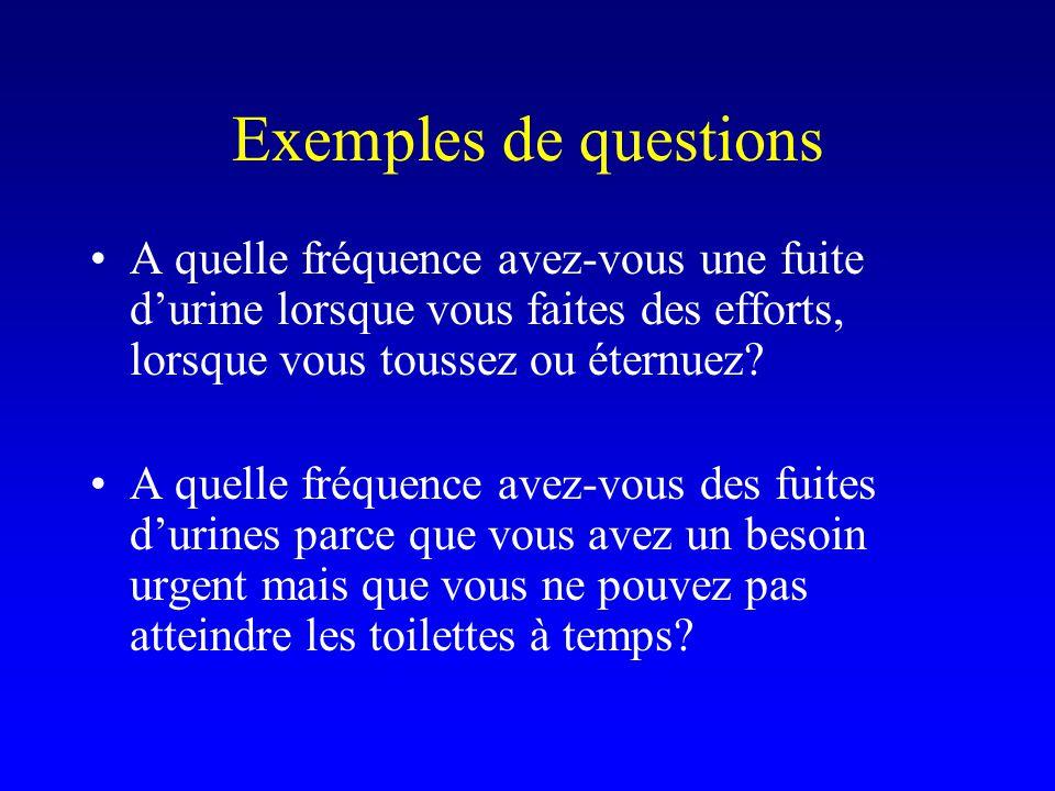 Exemples de questions A quelle fréquence avez-vous une fuite durine lorsque vous faites des efforts, lorsque vous toussez ou éternuez? A quelle fréque