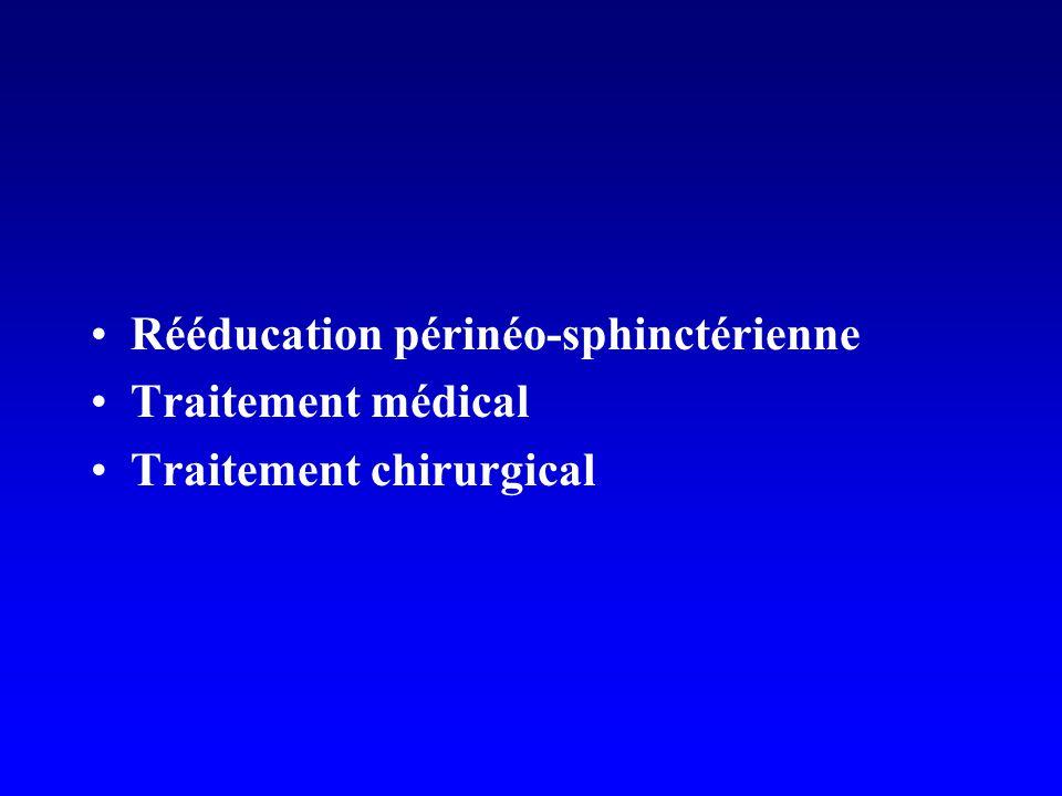Rééducation périnéo-sphinctérienne Traitement médical Traitement chirurgical