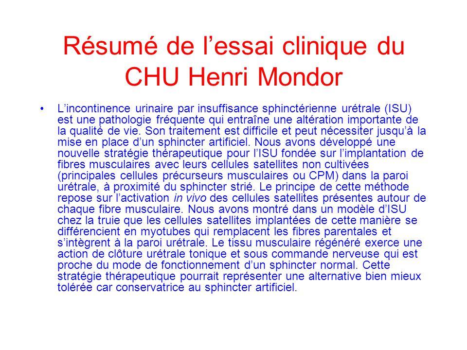 Résumé de lessai clinique du CHU Henri Mondor Lincontinence urinaire par insuffisance sphinctérienne urétrale (ISU) est une pathologie fréquente qui e