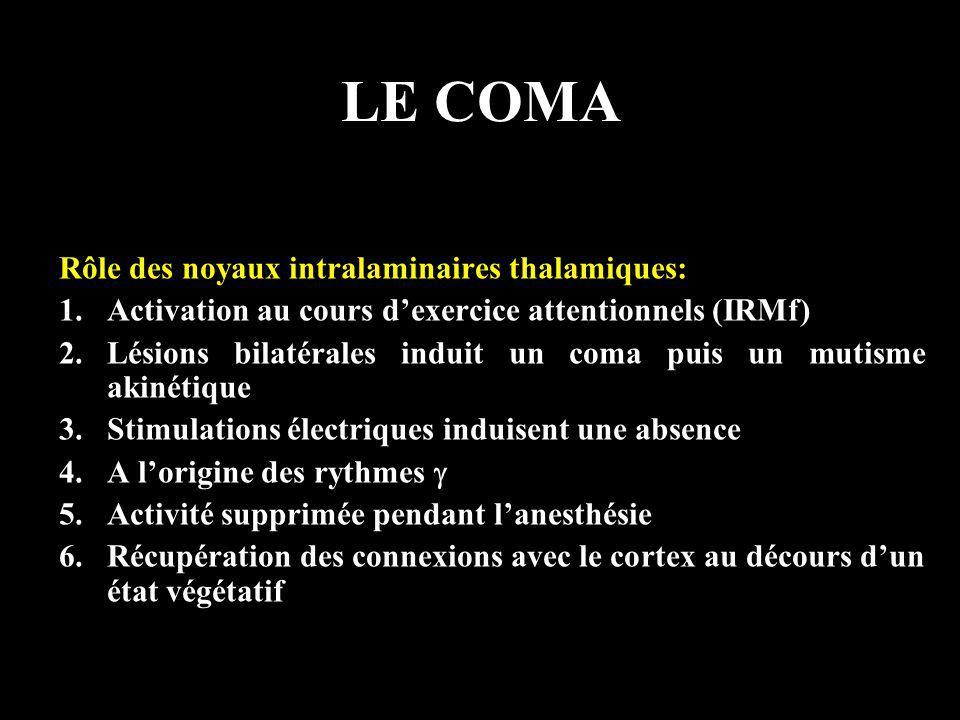 LE COMA Rôle des noyaux intralaminaires thalamiques: 1.Activation au cours dexercice attentionnels (IRMf) 2.Lésions bilatérales induit un coma puis un