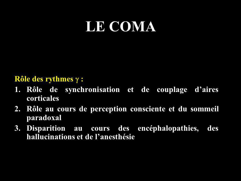 LE COMA Rôle des rythmes : 1.Rôle de synchronisation et de couplage daires corticales 2.Rôle au cours de perception consciente et du sommeil paradoxal