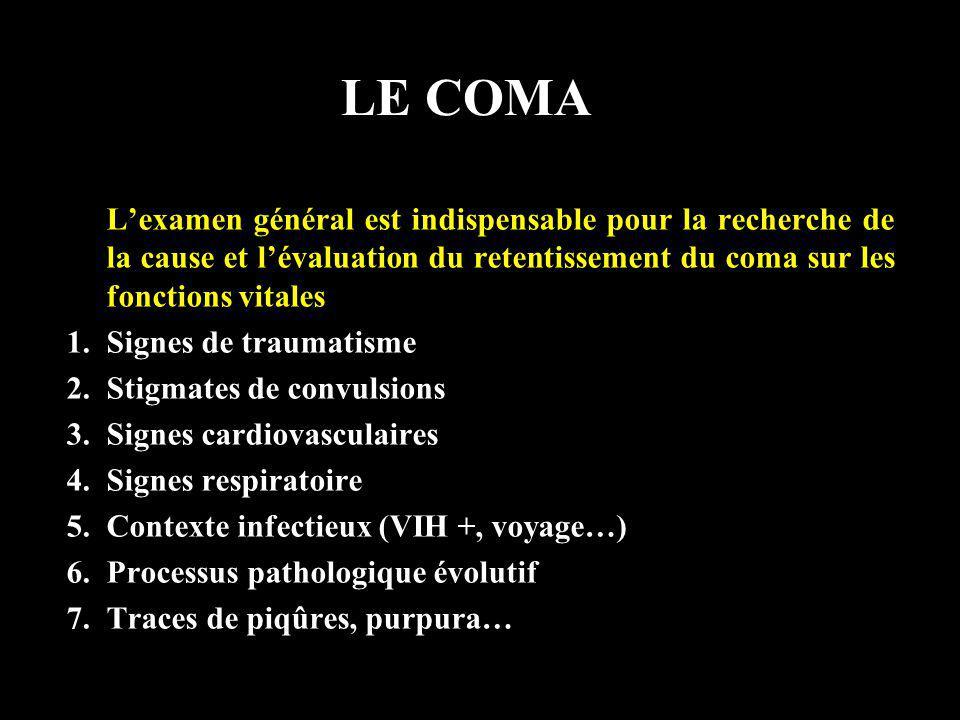 LE COMA Lexamen général est indispensable pour la recherche de la cause et lévaluation du retentissement du coma sur les fonctions vitales 1.Signes de