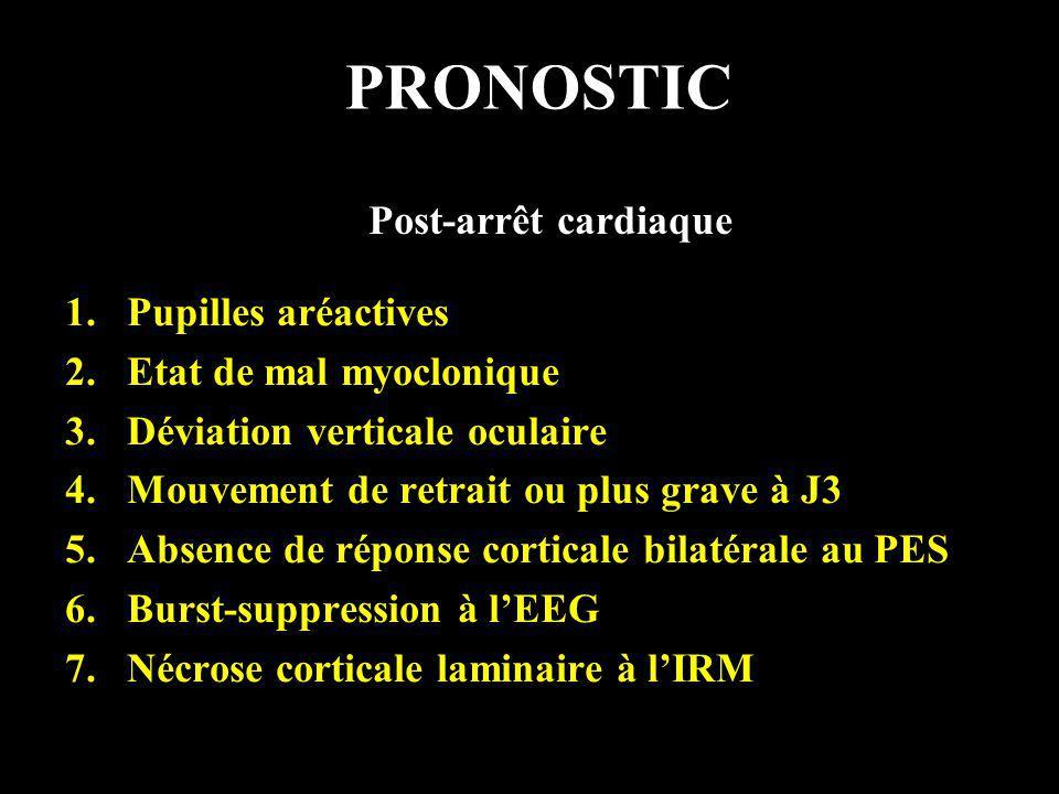 PRONOSTIC 1.Pupilles aréactives 2.Etat de mal myoclonique 3.Déviation verticale oculaire 4.Mouvement de retrait ou plus grave à J3 5.Absence de répons