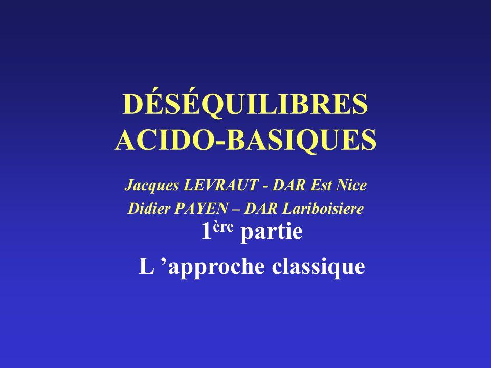 Acidose métabolique Acidose organique / acidose minérale 10 mM acide lactique 10 mM lactate -10 mM H+ [HCO3-] = 10 mM [lactate] = 10 mM 10 mM HCl 10 mM Cl -10 mM H+ [HCO3-] = 10 mM [Cl-] = 10 mM