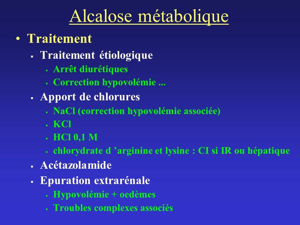 Alcalose métabolique Traitement Traitement étiologique Arrêt diurétiques Correction hypovolémie...