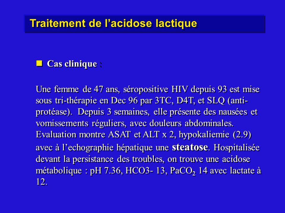 Cas clinique : Une femme de 47 ans, séropositive HIV depuis 93 est mise sous tri-thérapie en Dec 96 par 3TC, D4T, et SLQ (anti- protéase).