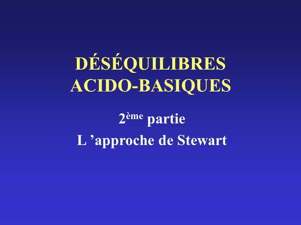 DÉSÉQUILIBRES ACIDO-BASIQUES 2 ème partie L approche de Stewart