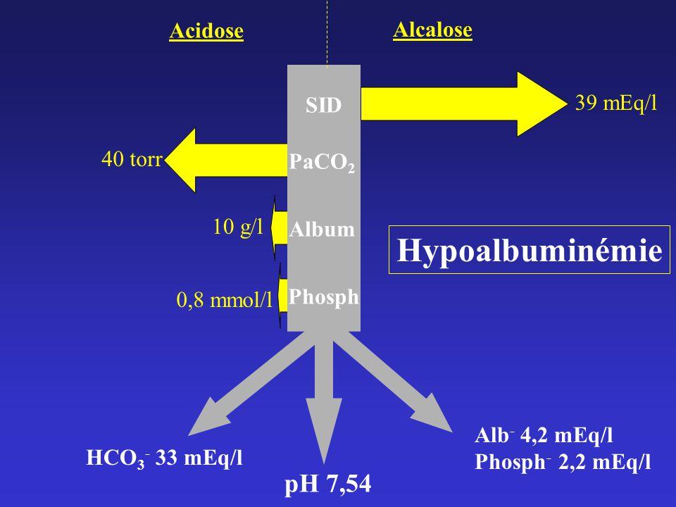 SID PaCO 2 Album Phosph pH 7,54 Acidose Alcalose 39 mEq/l 10 g/l 40 torr 0,8 mmol/l HCO 3 - 33 mEq/l Alb - 4,2 mEq/l Phosph - 2,2 mEq/l Hypoalbuminémie