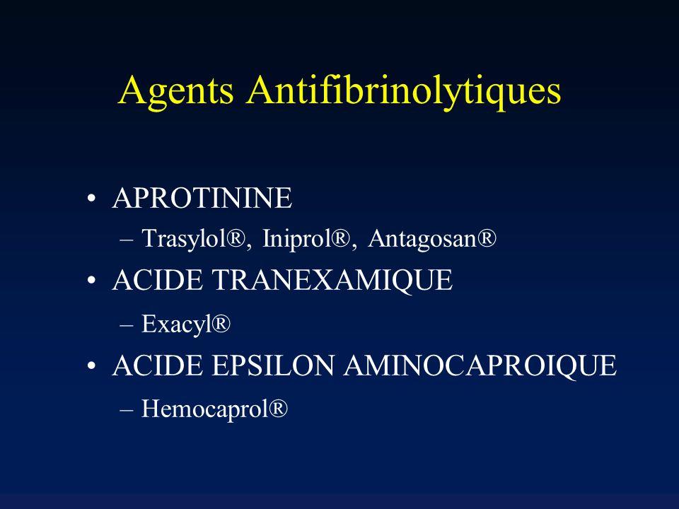 Agents Antifibrinolytiques APROTININE –Trasylol®, Iniprol®, Antagosan® ACIDE TRANEXAMIQUE –Exacyl® ACIDE EPSILON AMINOCAPROIQUE –Hemocaprol®