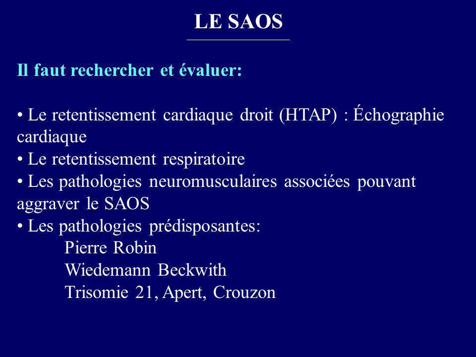 LE SAOS Il faut rechercher et évaluer: Le retentissement cardiaque droit (HTAP) : Échographie cardiaque Le retentissement respiratoire Les pathologies