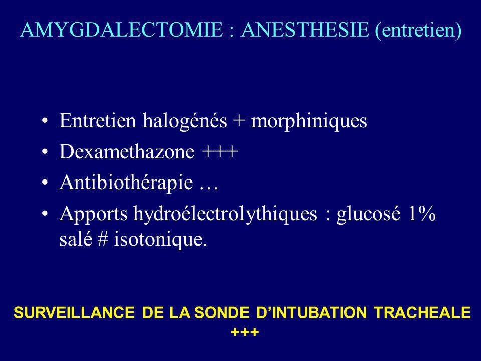 AMYGDALECTOMIE : ANESTHESIE (entretien) Entretien halogénés + morphiniques Dexamethazone +++ Antibiothérapie … Apports hydroélectrolythiques : glucosé