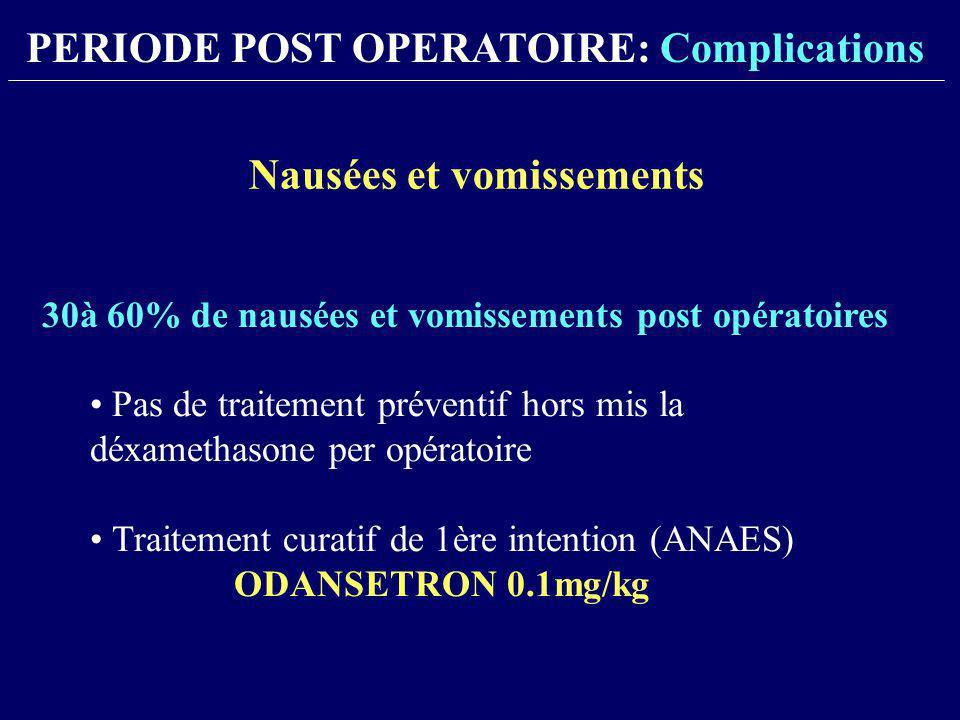 30à 60% de nausées et vomissements post opératoires Pas de traitement préventif hors mis la déxamethasone per opératoire Traitement curatif de 1ère in