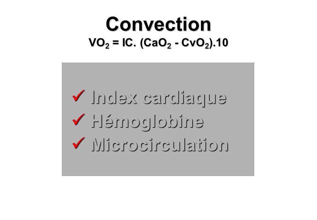 Index cardiaque Index cardiaque Hémoglobine Hémoglobine Microcirculation Microcirculation Convection VO 2 = IC. (CaO 2 - CvO 2 ).10