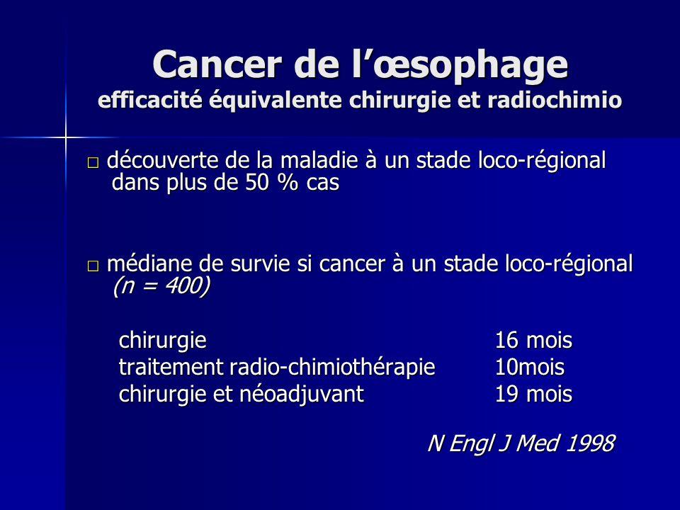 Cancer de lœsophage efficacité équivalente chirurgie et radiochimio découverte de la maladie à un stade loco-régional dans plus de 50 % cas découverte