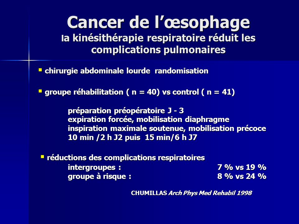 Cancer de lœsophage l a kinésithérapie respiratoire réduit les complications pulmonaires chirurgie abdominale lourde randomisation chirurgie abdominal