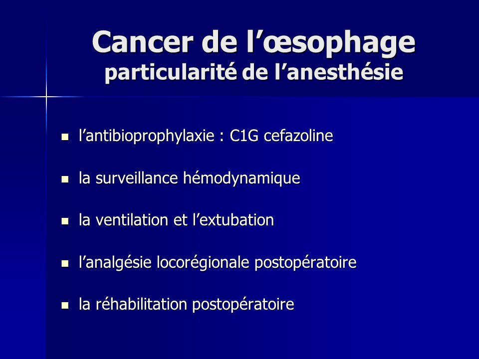 Cancer de lœsophage particularité de lanesthésie lantibioprophylaxie : C1G cefazoline lantibioprophylaxie : C1G cefazoline la surveillance hémodynamiq