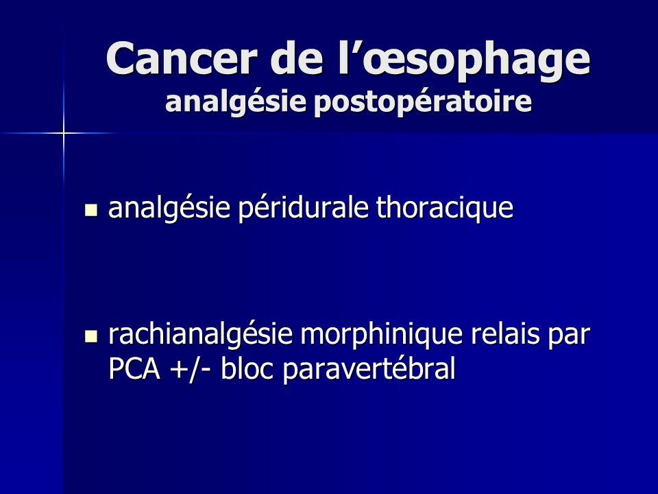 Cancer de lœsophage analgésie postopératoire analgésie péridurale thoracique analgésie péridurale thoracique rachianalgésie morphinique relais par PCA
