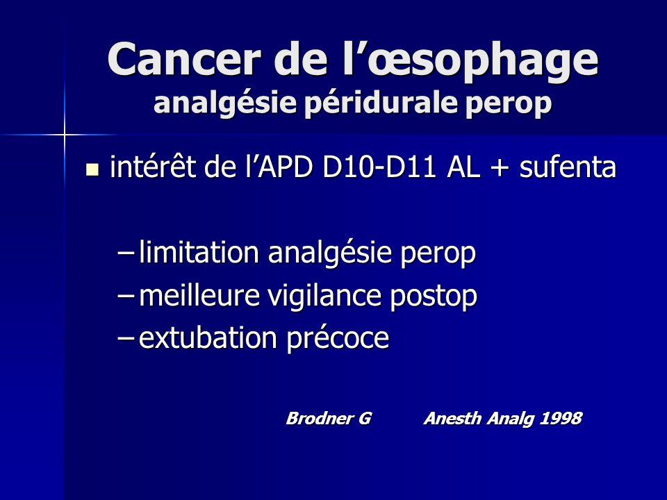 Cancer de lœsophage analgésie péridurale perop intérêt de lAPD D10-D11 AL + sufenta intérêt de lAPD D10-D11 AL + sufenta –limitation analgésie perop –