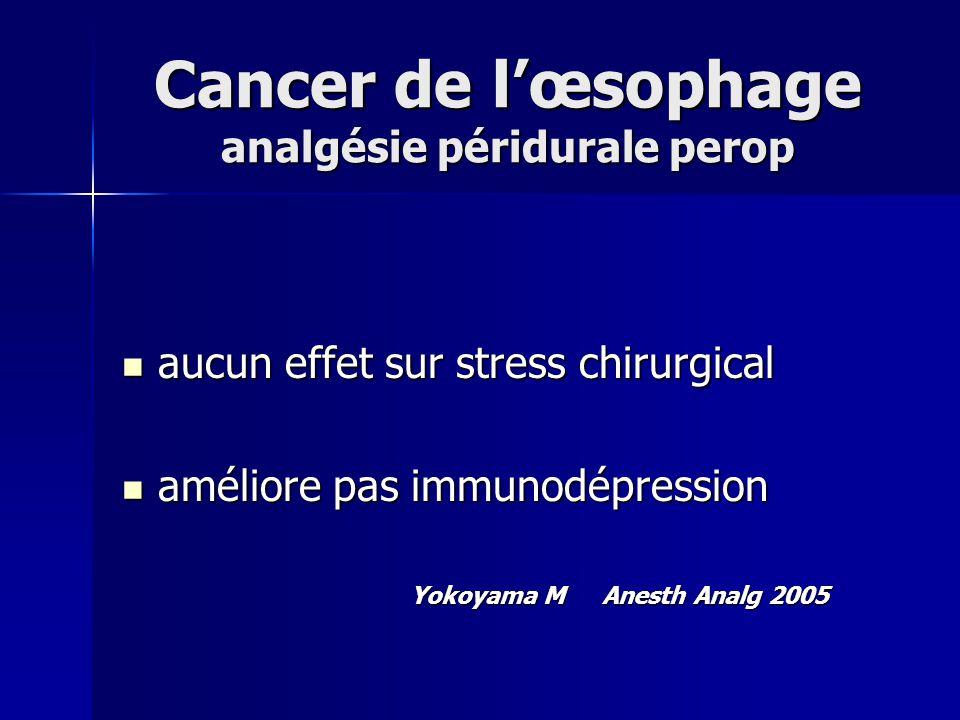 Cancer de lœsophage analgésie péridurale perop aucun effet sur stress chirurgical aucun effet sur stress chirurgical améliore pas immunodépression amé