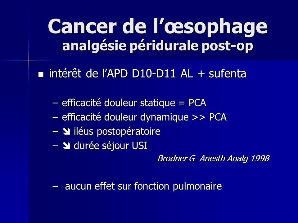 Cancer de lœsophage analgésie péridurale post-op intérêt de lAPD D10-D11 AL + sufenta intérêt de lAPD D10-D11 AL + sufenta –efficacité douleur statiqu