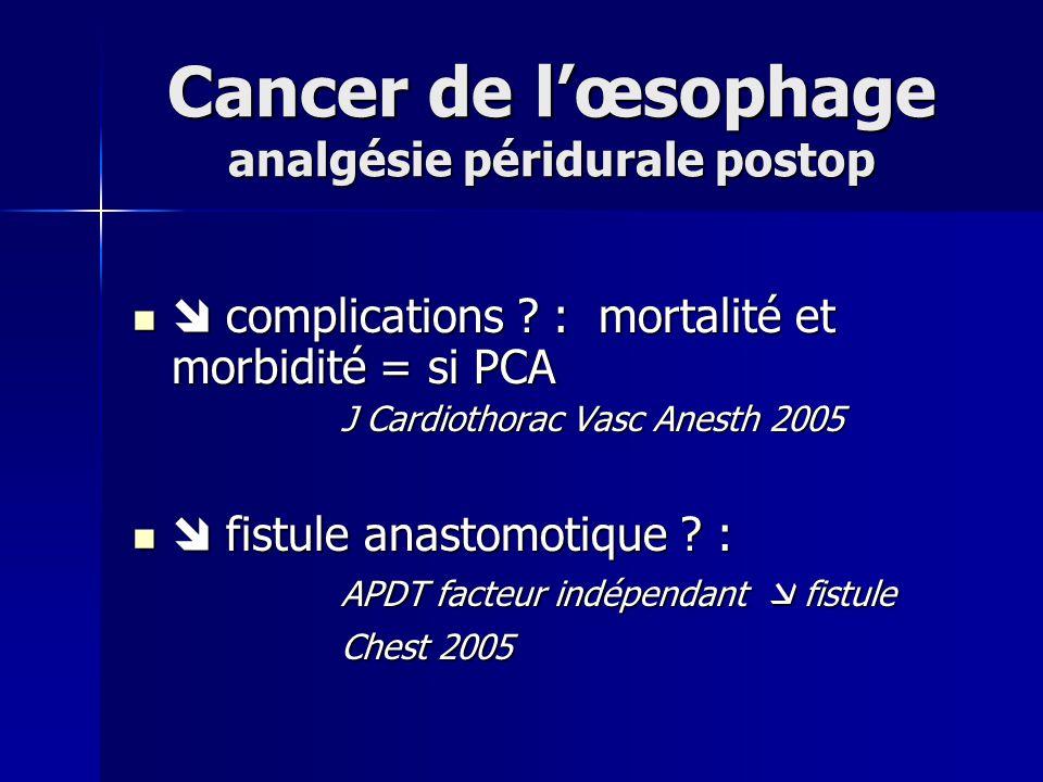 Cancer de lœsophage analgésie péridurale postop complications ? : mortalité et morbidité = si PCA complications ? : mortalité et morbidité = si PCA J