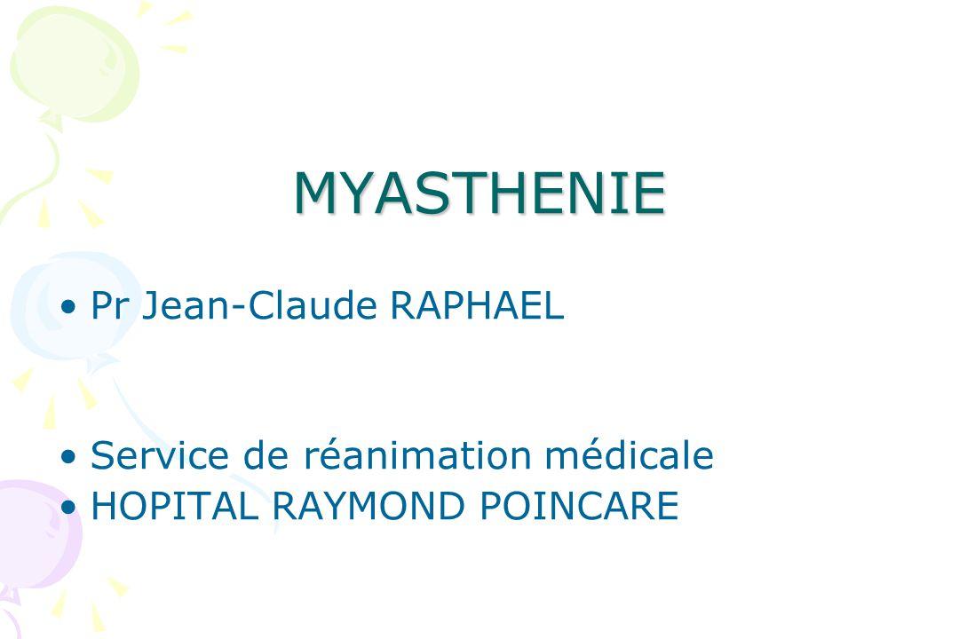 MYASTHENIE Pr Jean-Claude RAPHAEL Service de réanimation médicale HOPITAL RAYMOND POINCARE