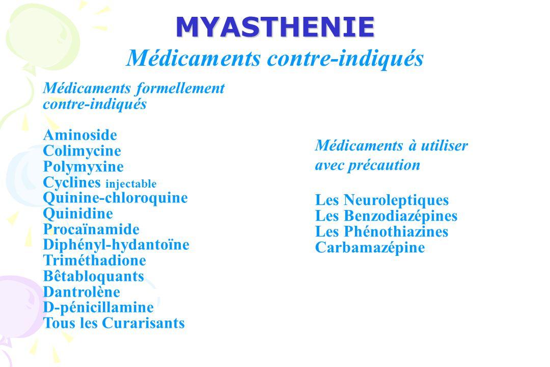 MYASTHENIE Médicaments contre-indiqués Médicaments formellement contre-indiqués Aminoside Colimycine Polymyxine Cyclines injectable Quinine-chloroquine Quinidine Procaïnamide Diphényl-hydantoïne Triméthadione Bêtabloquants Dantrolène D-pénicillamine Tous les Curarisants Médicaments à utiliser avec précaution Les Neuroleptiques Les Benzodiazépines Les Phénothiazines Carbamazépine