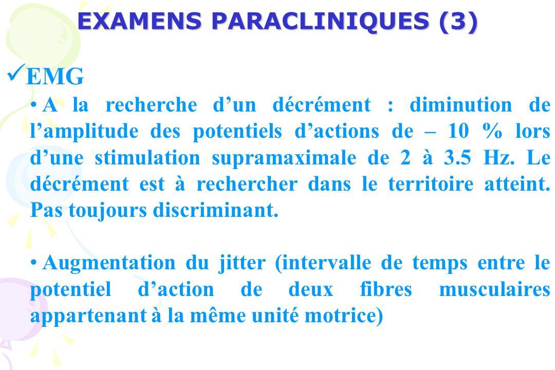 EXAMENS PARACLINIQUES (3) EMG A la recherche dun décrément : diminution de lamplitude des potentiels dactions de – 10 % lors dune stimulation supramaximale de 2 à 3.5 Hz.