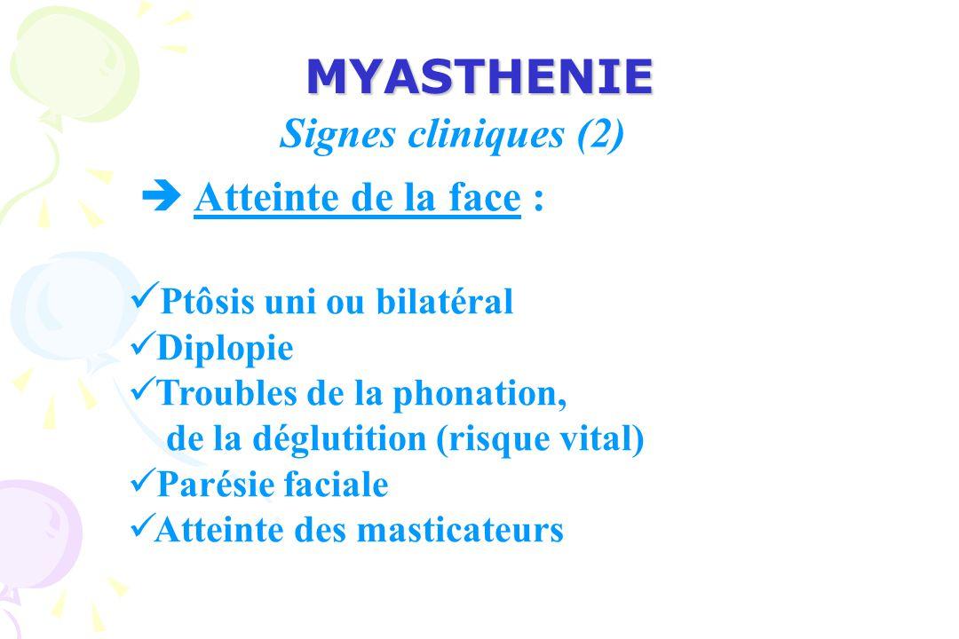 MYASTHENIE Atteinte de la face : Ptôsis uni ou bilatéral Diplopie Troubles de la phonation, de la déglutition (risque vital) Parésie faciale Atteinte des masticateurs Signes cliniques (2)