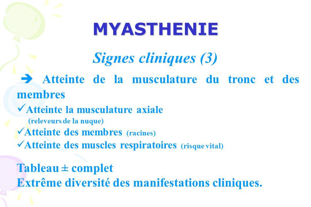 MYASTHENIE Maladies chroniques Alternance de poussée et de rémission les poussées : Gravité variable.