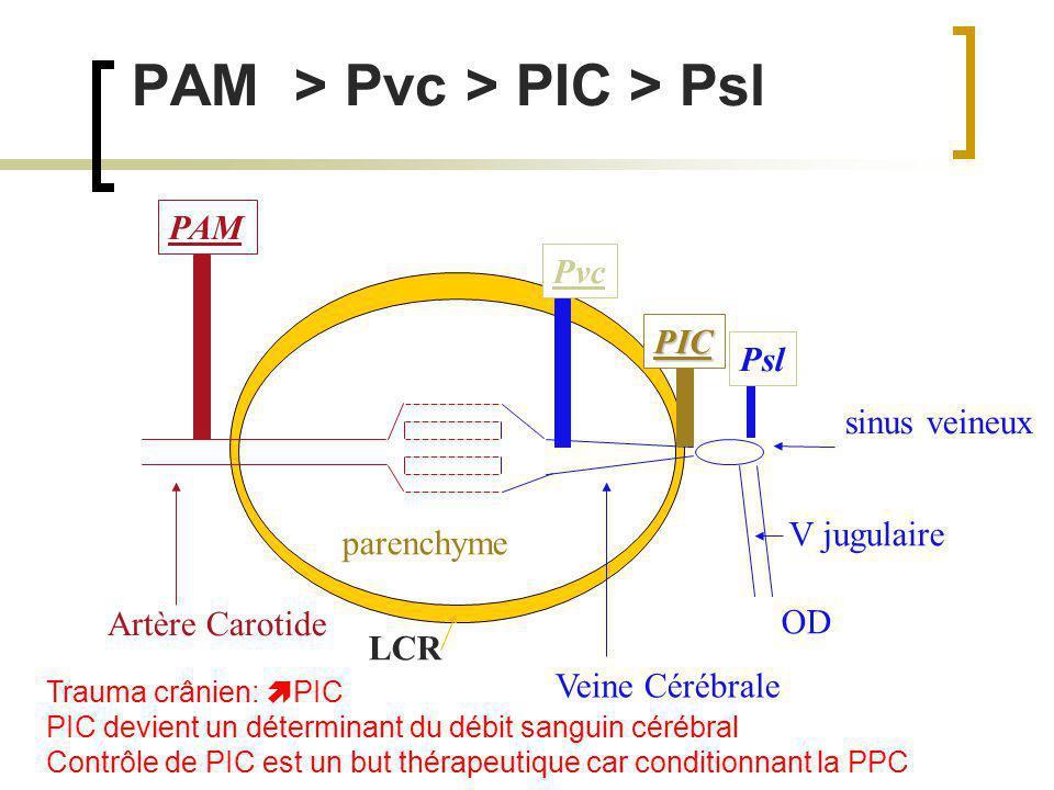 Strategie thérapeutique Réduire la CMRO 2 par: Sédation; hypothermie modérée, contrôle de la douleur et des stimuli exogènes Optimiser les déterminants du CBF: CPP; HR; PaCO2; SaO2; [Hb]