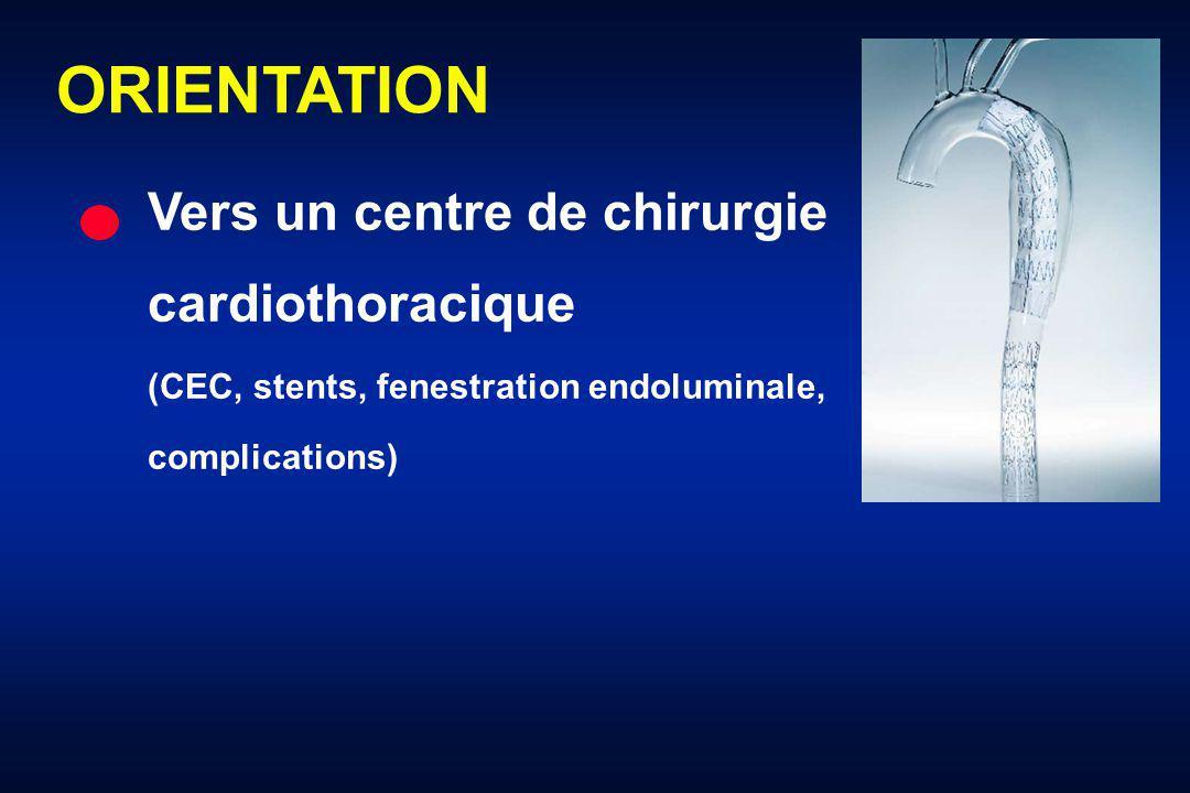 ORIENTATION Vers un centre de chirurgie cardiothoracique (CEC, stents, fenestration endoluminale, complications)