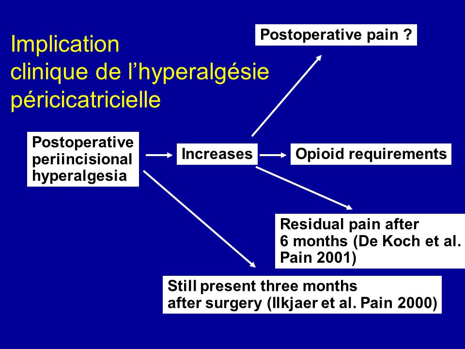 Postoperative periincisional hyperalgesia Increases Postoperative pain ? Opioid requirements Residual pain after 6 months (De Koch et al. Pain 2001) S