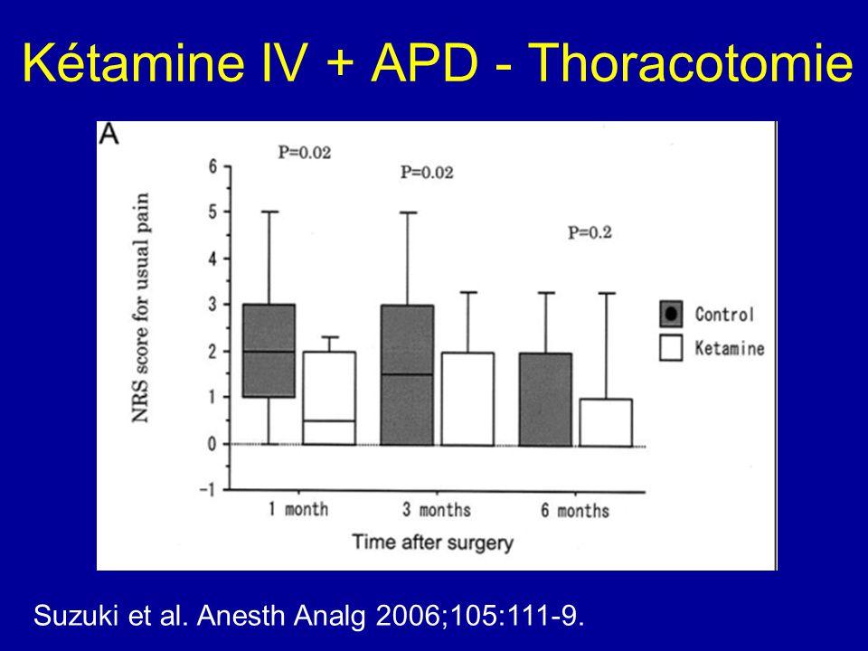 Kétamine IV + APD - Thoracotomie Suzuki et al. Anesth Analg 2006;105:111-9.