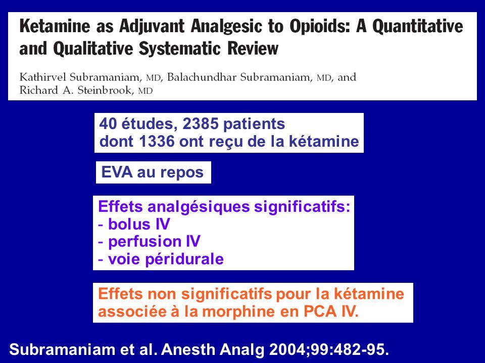 Effets analgésiques significatifs: - bolus IV - perfusion IV - voie péridurale Effets non significatifs pour la kétamine associée à la morphine en PCA