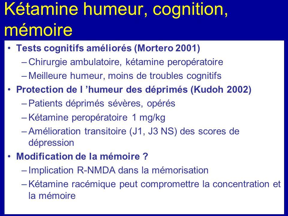 Kétamine humeur, cognition, mémoire Tests cognitifs améliorés (Mortero 2001) –Chirurgie ambulatoire, kétamine peropératoire –Meilleure humeur, moins d