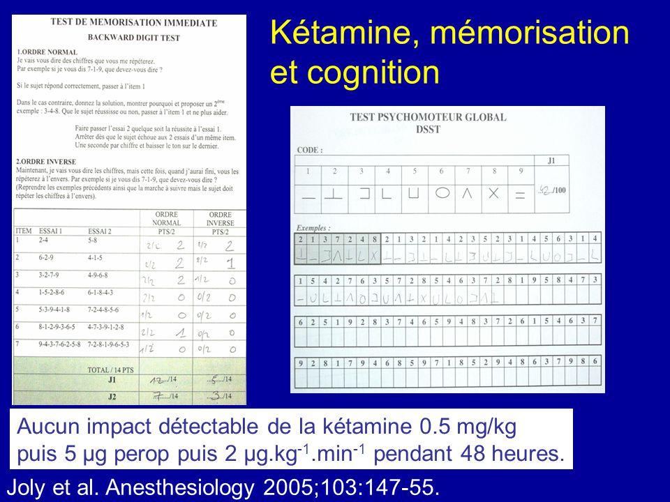 Kétamine, mémorisation et cognition Aucun impact détectable de la kétamine 0.5 mg/kg puis 5 µg perop puis 2 µg.kg -1.min -1 pendant 48 heures. Joly et
