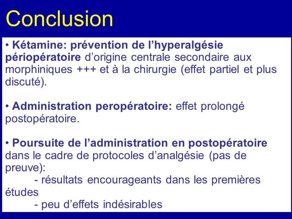 Conclusion Kétamine: prévention de lhyperalgésie périopératoire dorigine centrale secondaire aux morphiniques +++ et à la chirurgie (effet partiel et